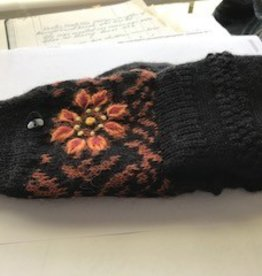 Alpaca Glittens, Black Heavy, Orange Flower Unisex