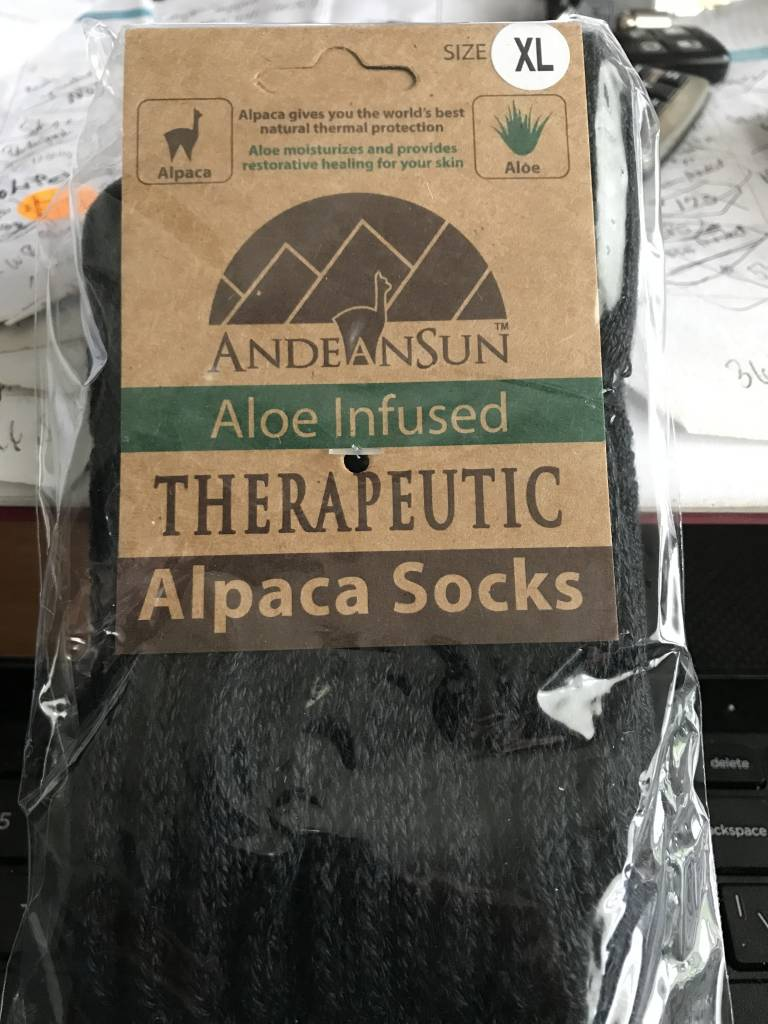Andean Art Alpaca Socks, Therapeutic Unisex XL Black