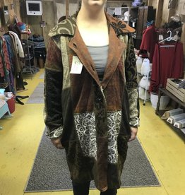 Alpaca Coat Sweater, Earth Tones Arlequin