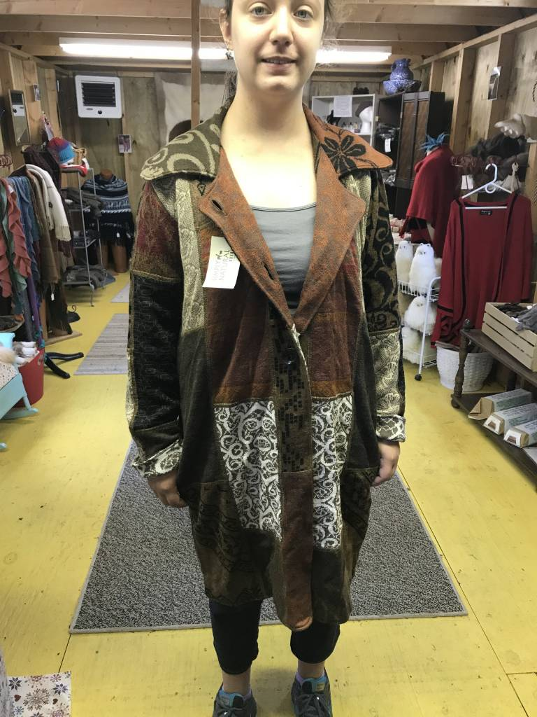 Alpaca Coat Sweater, Earth Tones Arlequin. XL
