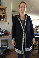 Alpaca Knit Coat Navy Trimmed in Wh Large