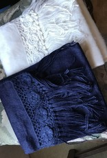 Brushed Scarf with Crocheted Trim Ivory, Navy