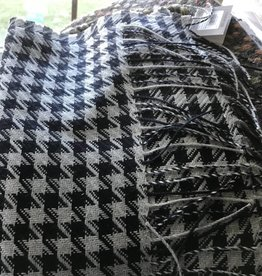 Classic Alpacas Alpaca Scarf, Houndstooth Navy and Gray