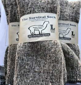 Alpaca Socks, Survival Sock, Crew Length L Green