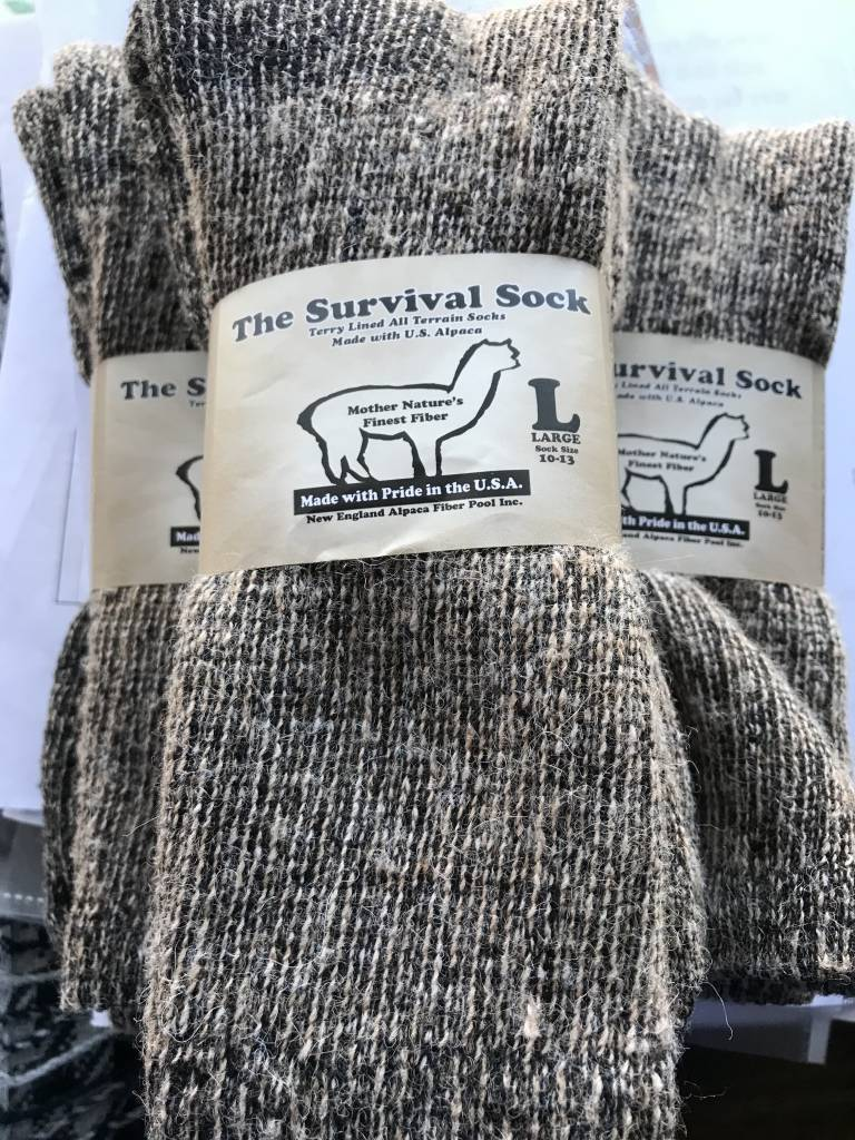 NEAFP Alpaca Socks, Survival Sock, Crew Length L Fawn