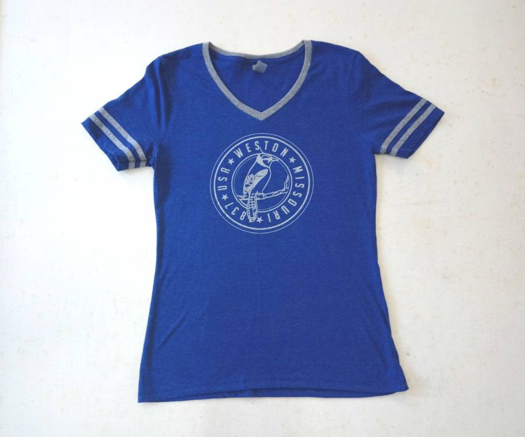 Weston, MO Blue Jays Ladies V Neck Tee