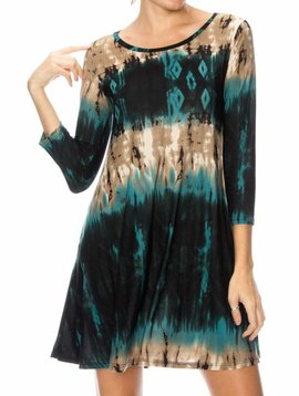 Teal Tie Dye Swing Dress Curvy