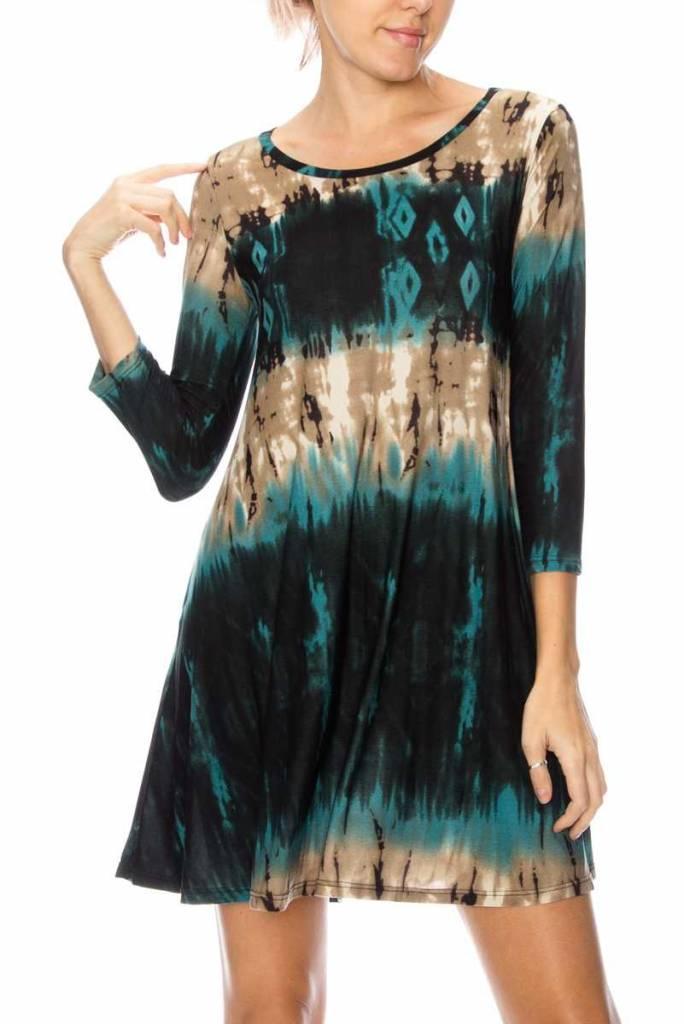 Teal Tie Dye Swing Dress Curvy