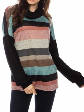 Knit Cowl Neck Stripe Top
