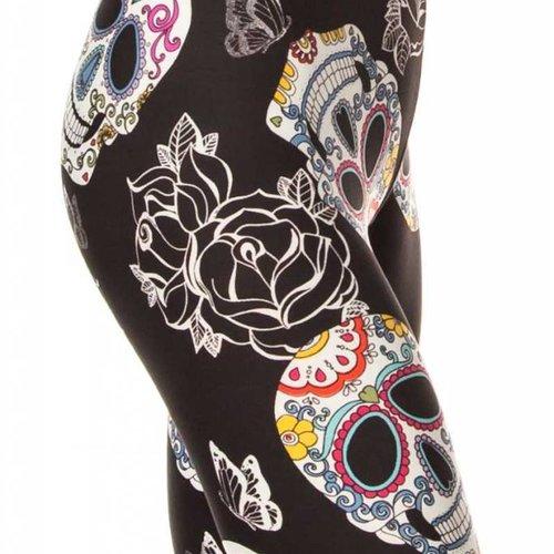 Sugar Skull and Roses Legging Curvy