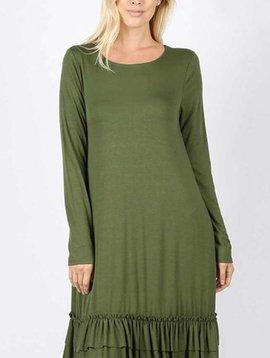 Long Sleeve Ruffle Hem Dress