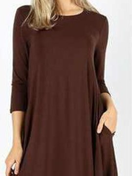3/4 Sleeve Swing Dress Curvy