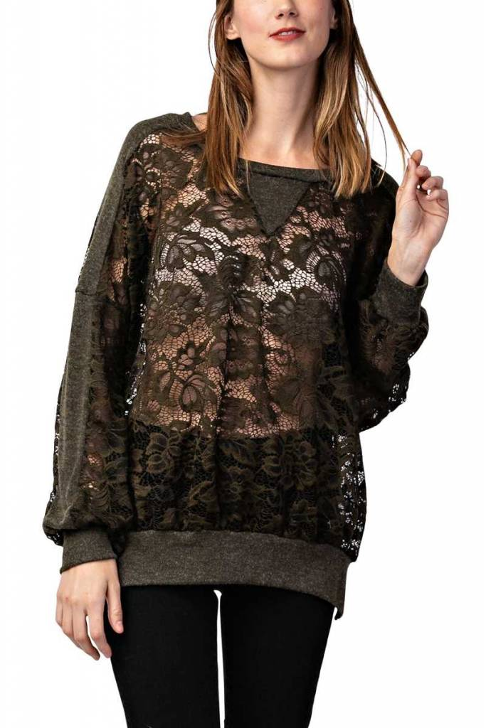 Lace Sweatshirt Top