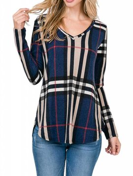 Navy Plaid Vneck Top