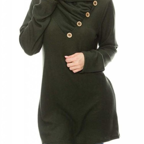 Olive Button Cowl Top