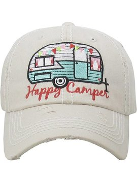 Happy Camper Ball Cap Stone