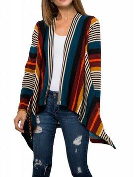 Multi-color Stripe Cardigan Curvy