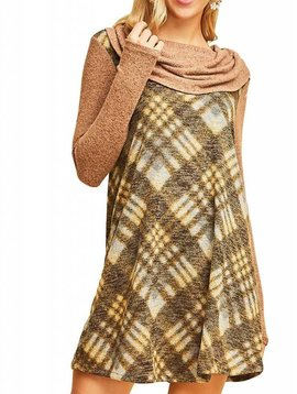 Camel Plaid Cowl Neck Dress