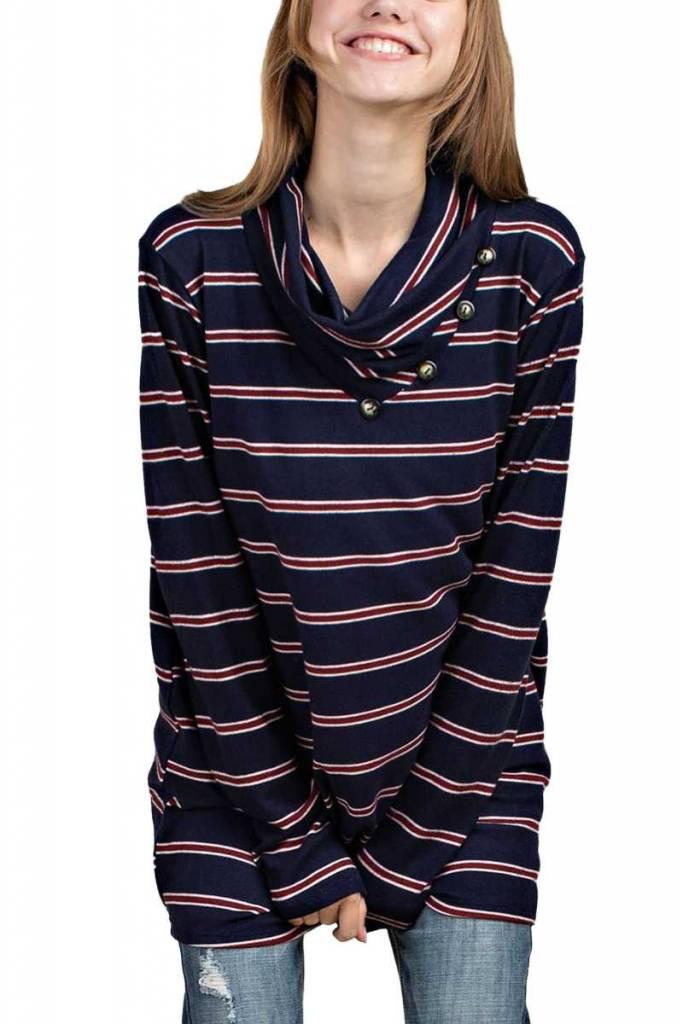 Stripe Button Cowl Top