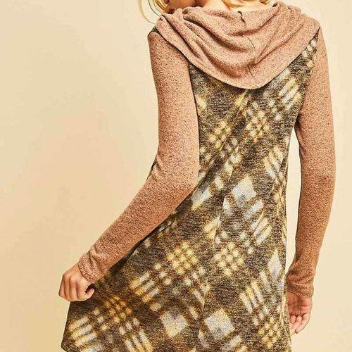 Camel Plaid Cowl Neck Dress