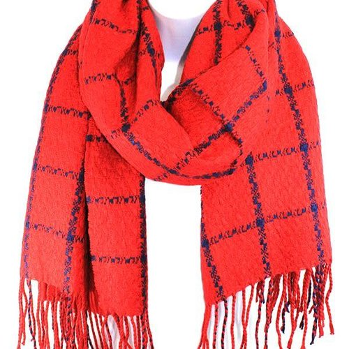 Red Square Pattern Fringe Scarf