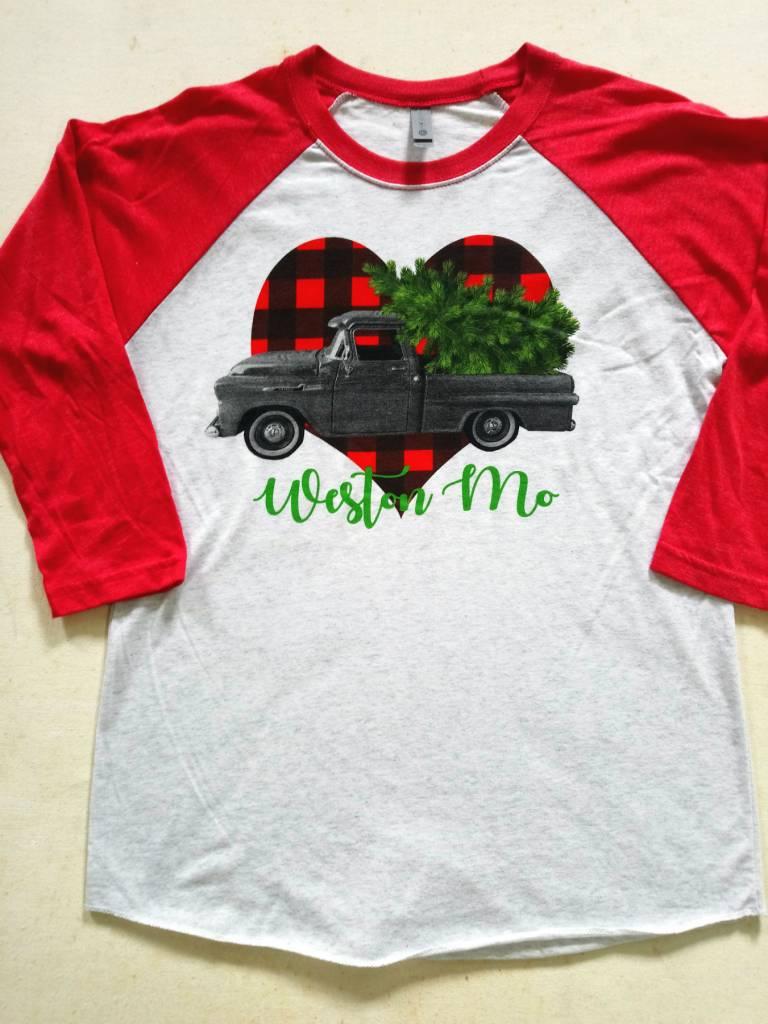 Christmas Truck Raglan Tee