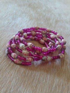 Pink Paper Bead Wrap Bracelet #3