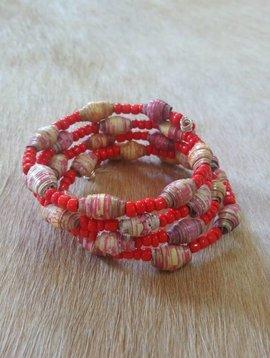 Coral Paper Bead Wrap Bracelet #2