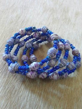 Royal Blue Paper Bead Wrap Bracelet #4