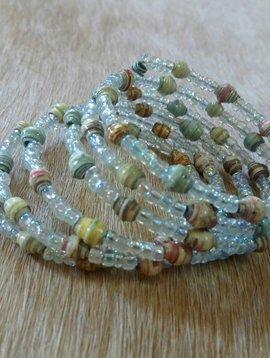 Sage + Sand Paper Bead Wrap Bracelet #8