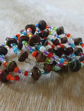 Multicolored Paper Bead Wrap Bracelet #10