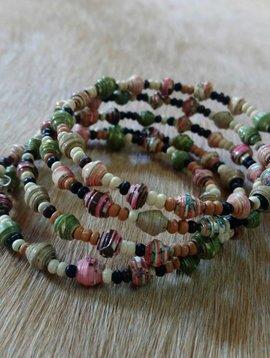 Pink + Green Paper Bead Wrap Bracelet #11