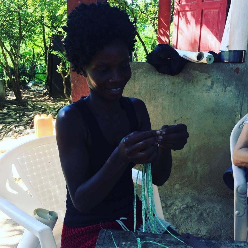 Pink + Green Paper Bead Wrap Bracelet #11 made in Haiti