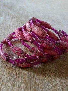 Pink Paper Bead Wrap Bracelet #12
