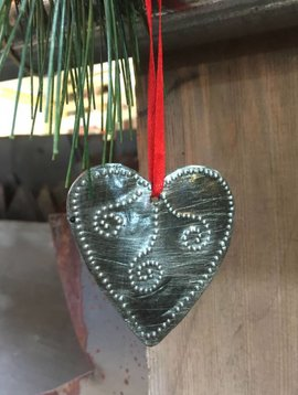 Hammered Metal Heart Ornament