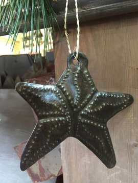 Hammered Metal Star Ornament