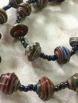 Multi-Colored Paper Bead Necklace #1