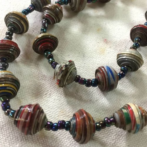 Multi-Colored Paper Bead Necklace #1 made in Haiti