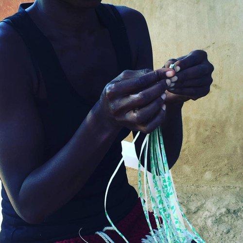 Multi-Colored Paper Bead Necklace #1 made in Haiti