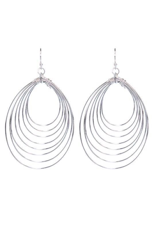 Teardrop Ring Earring Silver