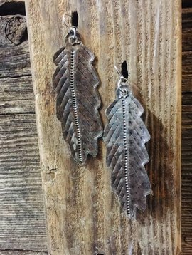 "Cactus Creek 3"" Metal Feather Earrings Haiti"