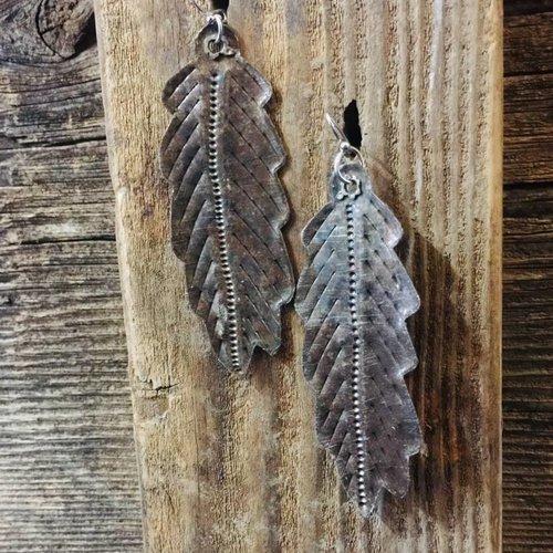 "3"" Metal Feather Earrings Haiti"