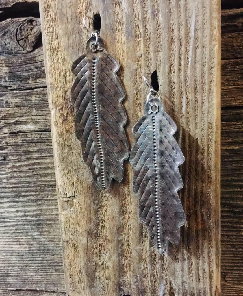 "Cactus Creek 3"" Metal Feather Earrings Haiti"