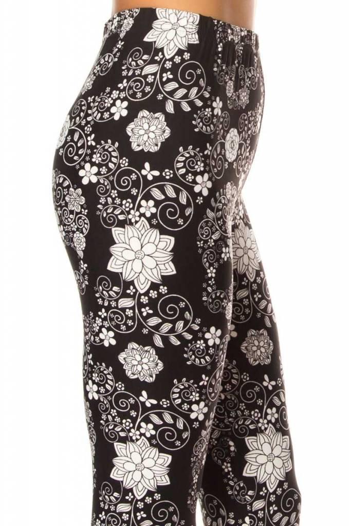 Black + White Floral Skull Legging