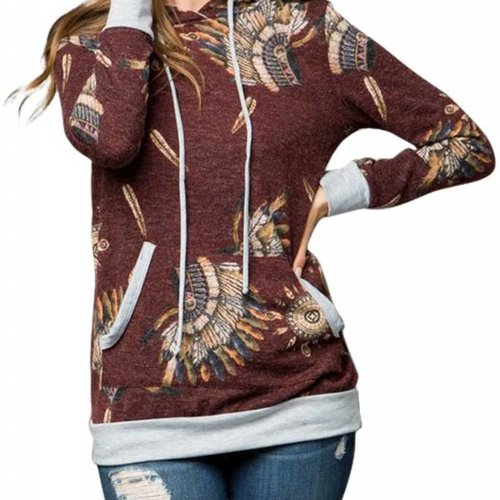 Native American Indian Chief Hooded Top