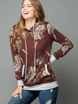 CURVY Native American Indian Chief Hooded Top