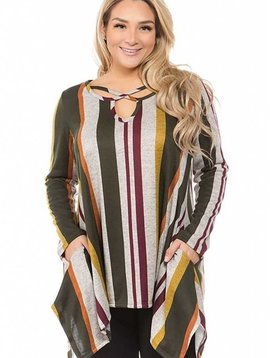 CURVY Crisscross Neck Stripe Tunic