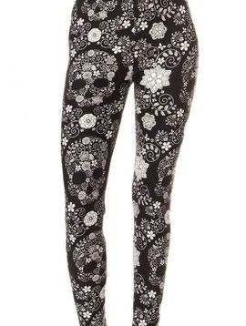 Black + White Floral Skull Legging