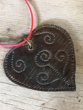 Medium Hammered Metal Heart Haiti