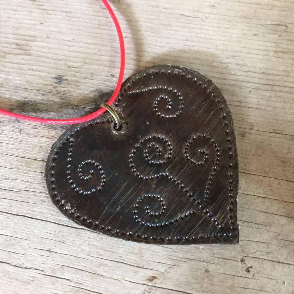 Medium Hammered Metal Heart from Haiti